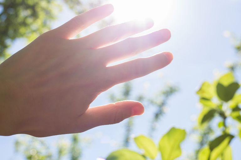 手と日差し